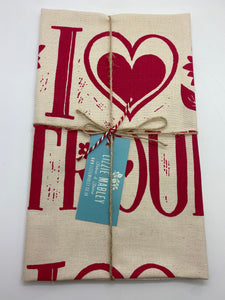 I love Stroud tea towel in red (BLUE)