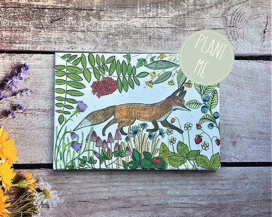 "Plantable flower seed "" Fox"" greetings card (Erika)"