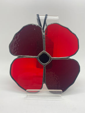 Poppy stained glass hanging (Glass)