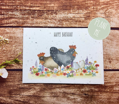 Plantable Paper, Birthday Card, Blank Inside, Recycled Flower,Chicken card (Erika)