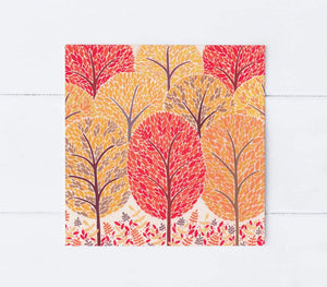 Autumn trees greetings card