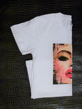 "Load image into Gallery viewer, ""#Selfie""  white organic cotton T-shirt (Maeve)"