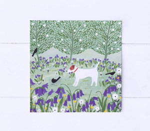 Jack Russel among bluebells greetings cards
