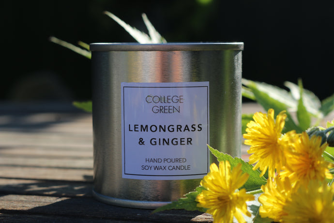 Lemongrass and ginger scented candle                                   College green