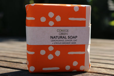 Lemongrass, ginger, oat and stroud brewery beer soap (College green)
