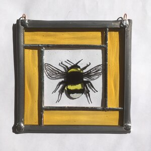 Bumble bee stained glass panel.                                    LD
