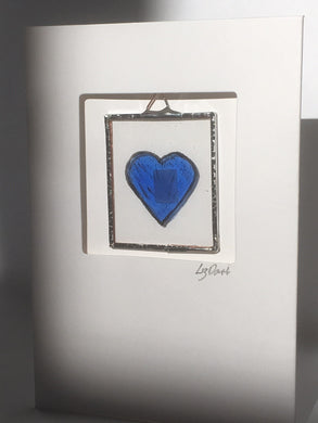Blue heart stained glass greetings card