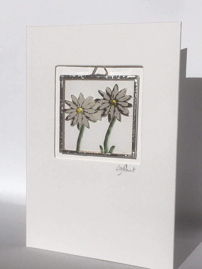 Daisy stained glass greetings card - Liz Dart