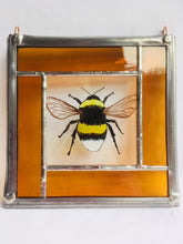 Load image into Gallery viewer, Bumble bee stained glass panel.                                    LD