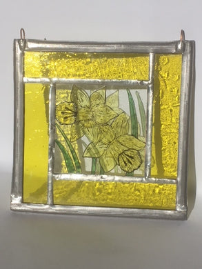 Yellow Daffodil stained glass panel