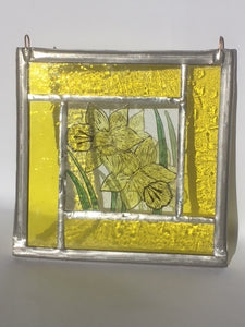Yellow Daffodil stained glass panel.                           LD