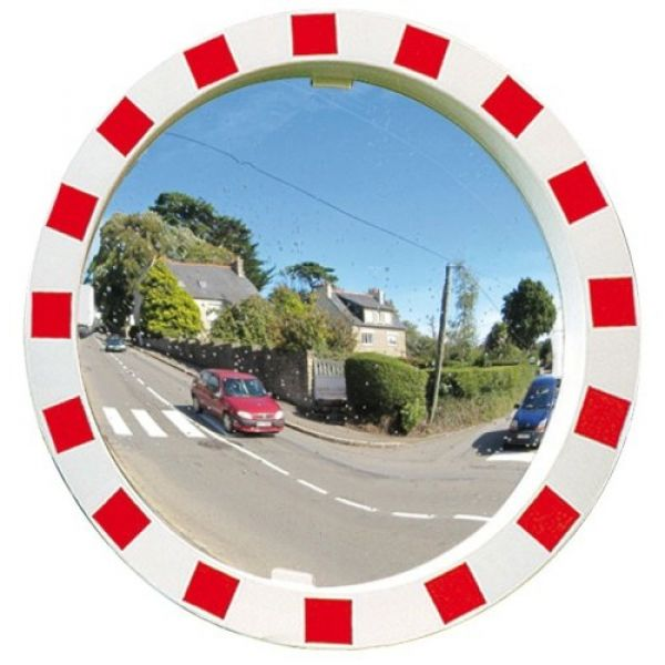 800mm Diameter P.A.S Traffic Mirror with Red & White Frame Techni-Pros - techni-pros