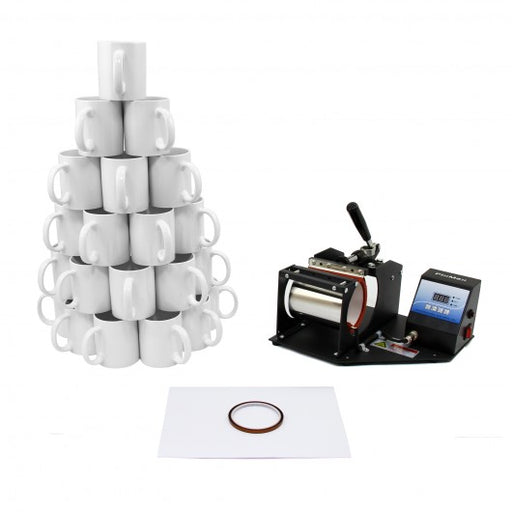 PixMax Sublimation Mug Press plus 72 Mugs Bundle - techni-pros