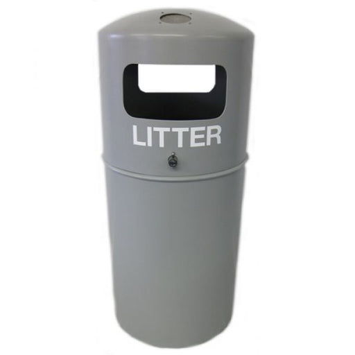 Hooded Top Litter Bin with Fitted Stubbing Plate - 90 Litre Techni-Pros - techni-pros