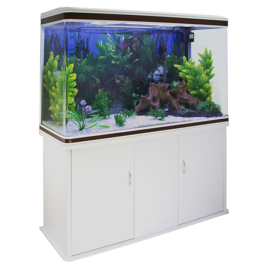 aquarium-fish-tank-cabinet-with-complete-starter-kit-white-tank-white-gravel Techni-Pros - techni-pros