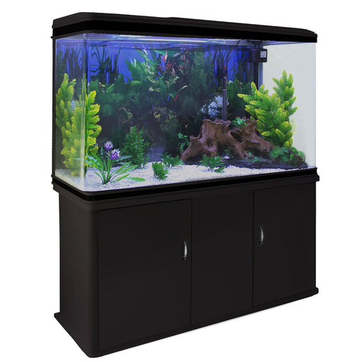 aquarium-fish-tank-cabinet-with-complete-starter-kit-black-tank-white-gravel Techni-Pros - techni-pros