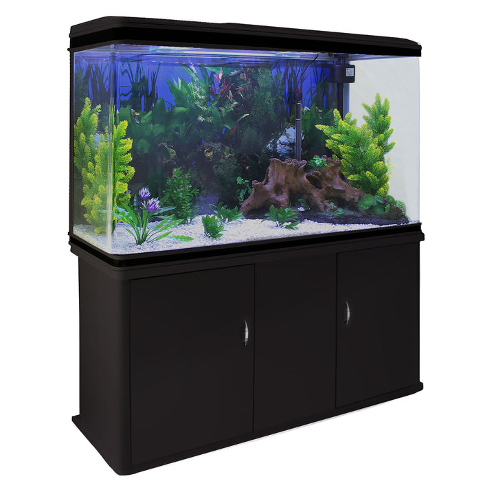 Aquarium Fish Tank & Cabinet with Complete Starter Kit - Black Tank & White Gravel Techni Pros Techni-Pros - techni-pros