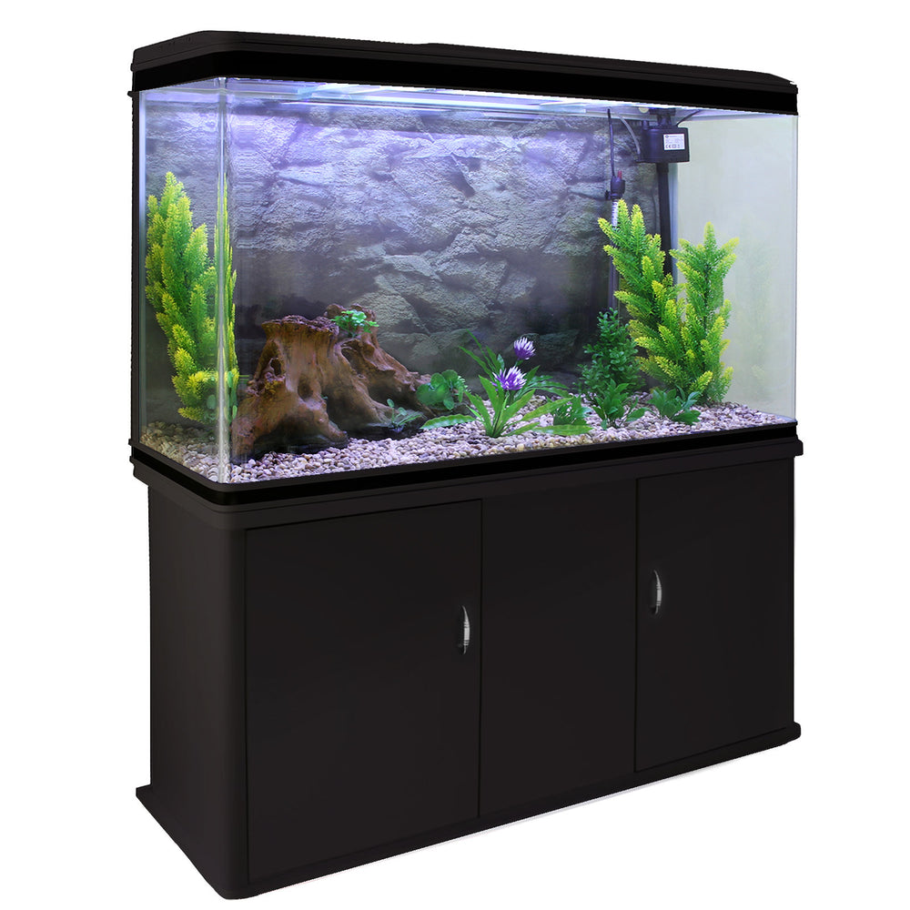 aquarium-fish-tank-cabinet-with-complete-starter-kit-black-tank-natural-gravel Techni-Pros - techni-pros