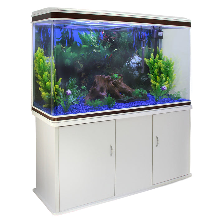 aquarium-fish-tank-cabinet-with-complete-starter-kit-white-tank-blue-gravel Techni-Pros - techni-pros