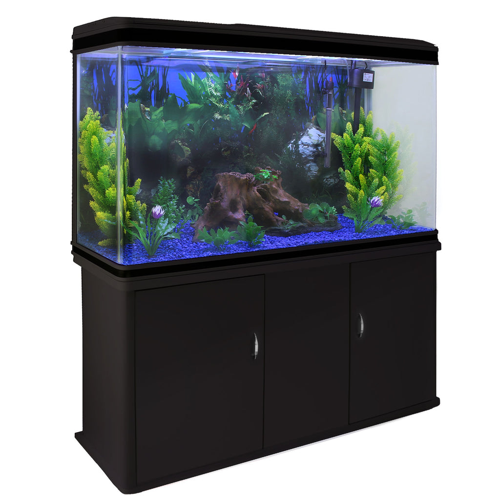 aquarium-fish-tank-cabinet-with-complete-starter-kit-black-tank-blue-gravel Techni-Pros - techni-pros