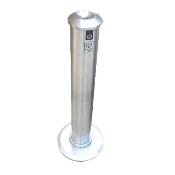 Large Brushed Aluminium Floor Mounted Tower Cigarette Bin Techni-Pros - techni-pros