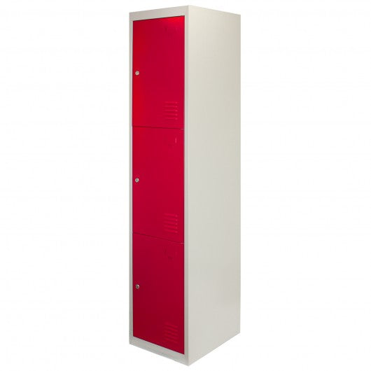 metal-storage-lockers-three-doors-flatpacked-red Techni-Pros - techni-pros