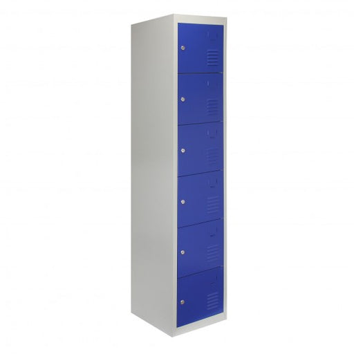 Metal Storage Lockers - Six Doors, Blue - techni-pros