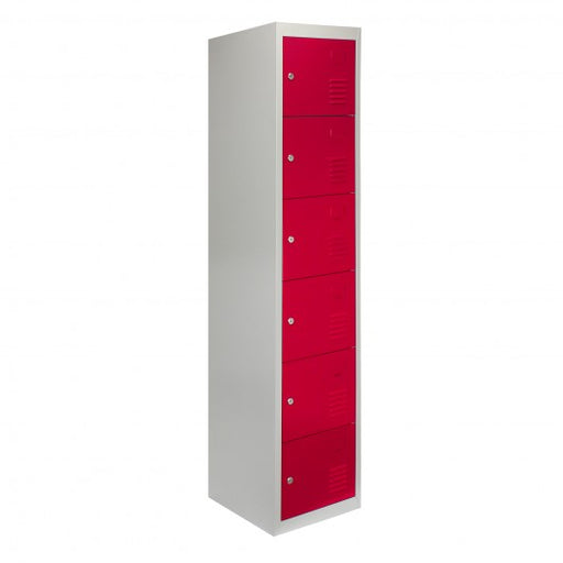 Metal Storage Lockers - Six Doors, Red - techni-pros