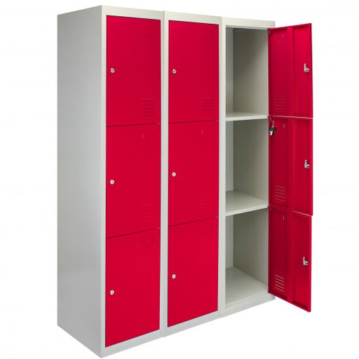 3-x-metal-storage-lockers-three-doors-red-flatpack Techni-Pros - techni-pros