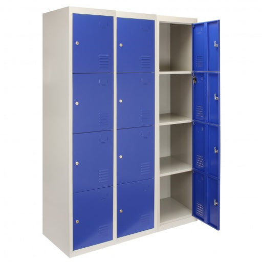 3 x Metal Storage Lockers - Four Doors, Blue - techni-pros