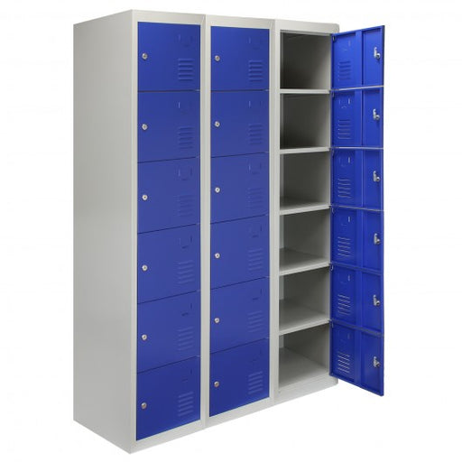 3 x Metal Storage Lockers - Six Doors, Blue - techni-pros