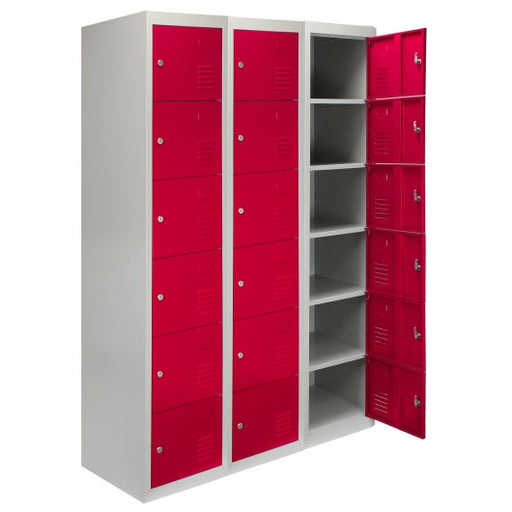 3 x Metal Storage Lockers - Six Doors, Red - techni-pros