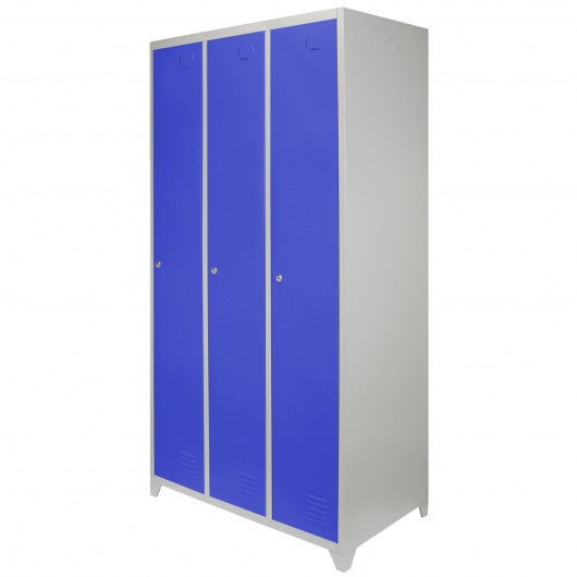 metal-storage-lockers-three-doors-wide-blue Techni-Pros - techni-pros