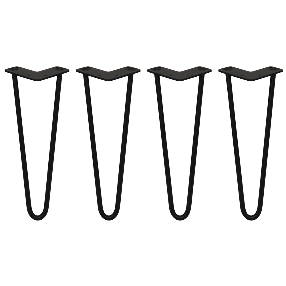 "4 x 14"" Hairpin Legs - 2 Prong - 12mm - Black Techni Pros Techni-Pros - techni-pros"