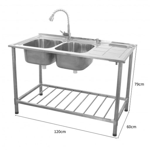 Right Hand Drainer KuKoo Commercial Catering Sink Double Bowl - Techni-Pros