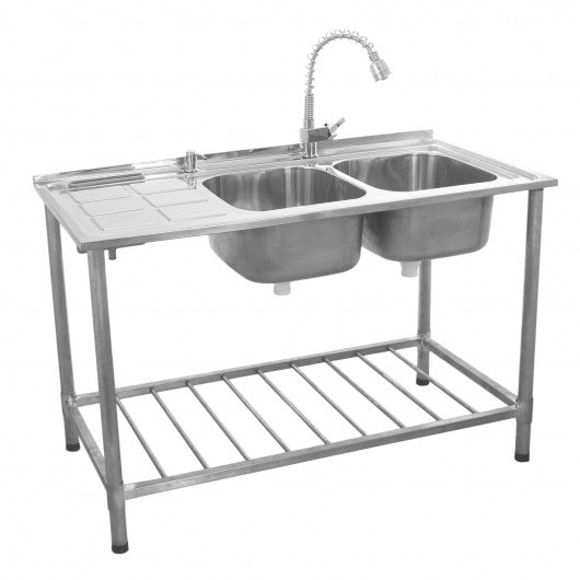kukoo-commercial-catering-sink-double-bowl-left-hand-drainer Techni-Pros - techni-pros