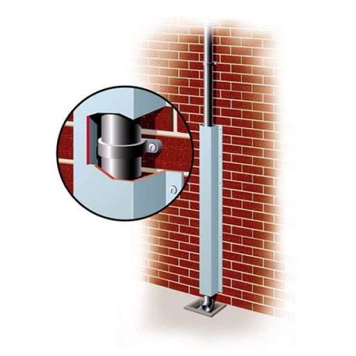 Pipepro Galvanised Steel Downpipe Protector - 150 x 155 x 2400mm Techni Pros