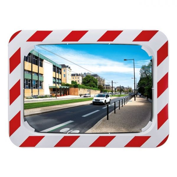 600 x 400mm Polymir Traffic Mirror with Red & White Frame Techni-Pros - techni-pros