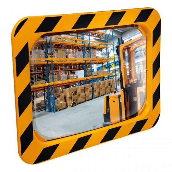 600 x 400mm P.A.S Yellow and Black Framed Industry and Workplace Mirror Techni-Pros - techni-pros