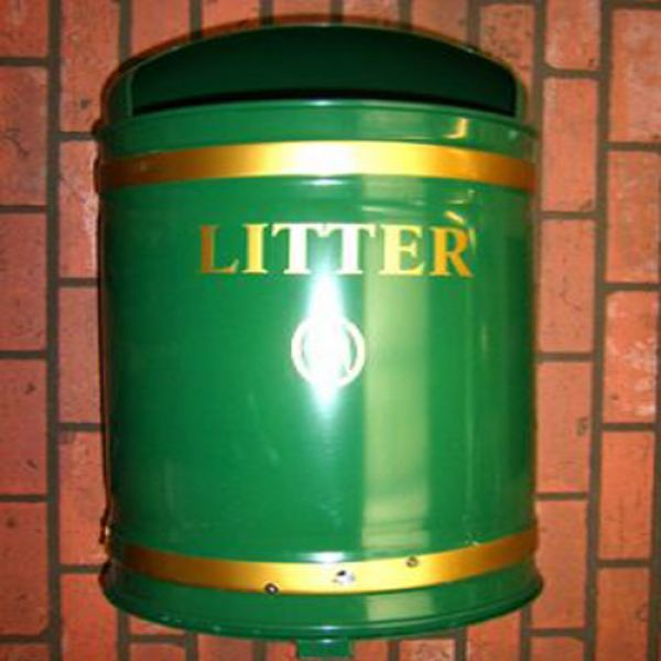 Knight Dome Top Wall Mountable Litter Bin - 40 Litre Capacity - techni-pros