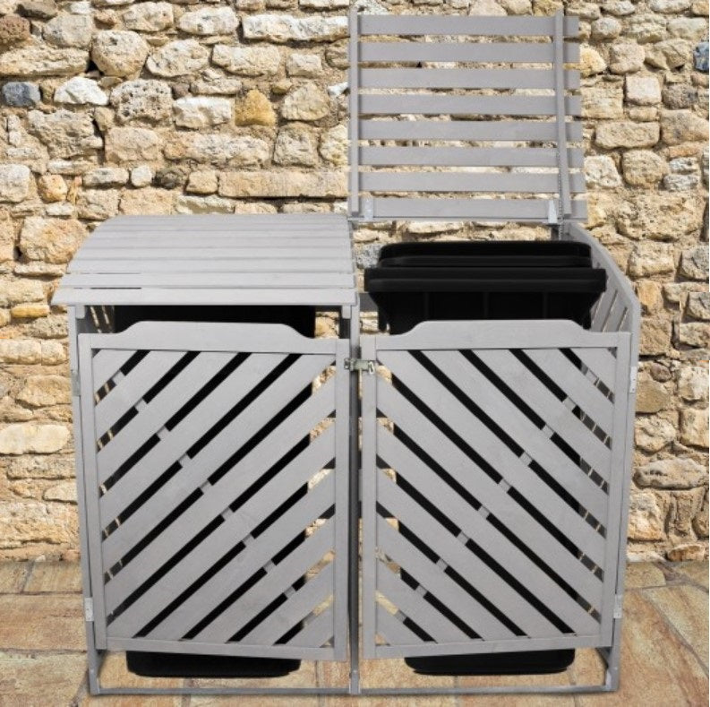 Grey Double Wheelie Bin Storage Techni-Pros