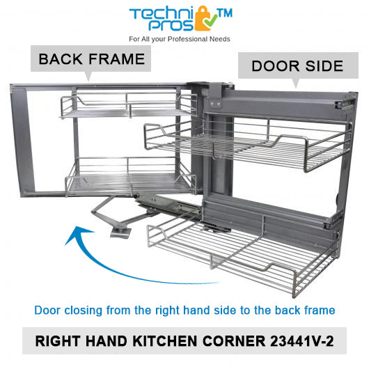 KuKoo Corner Kitchen Cupboard Pull Out Drawers, Right Hand Techni-Pros