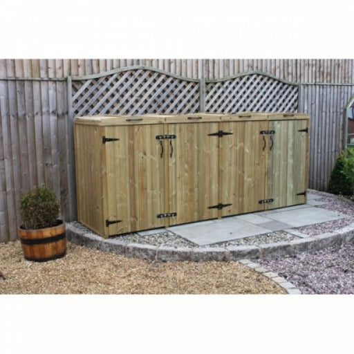 Timber Quad Chest Wheelie Bin Store Techni-Pros - techni-pros