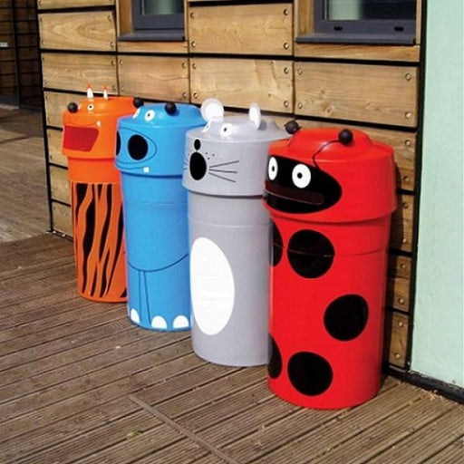 Set of 4 Animal Face Litter Bins Techni Pros