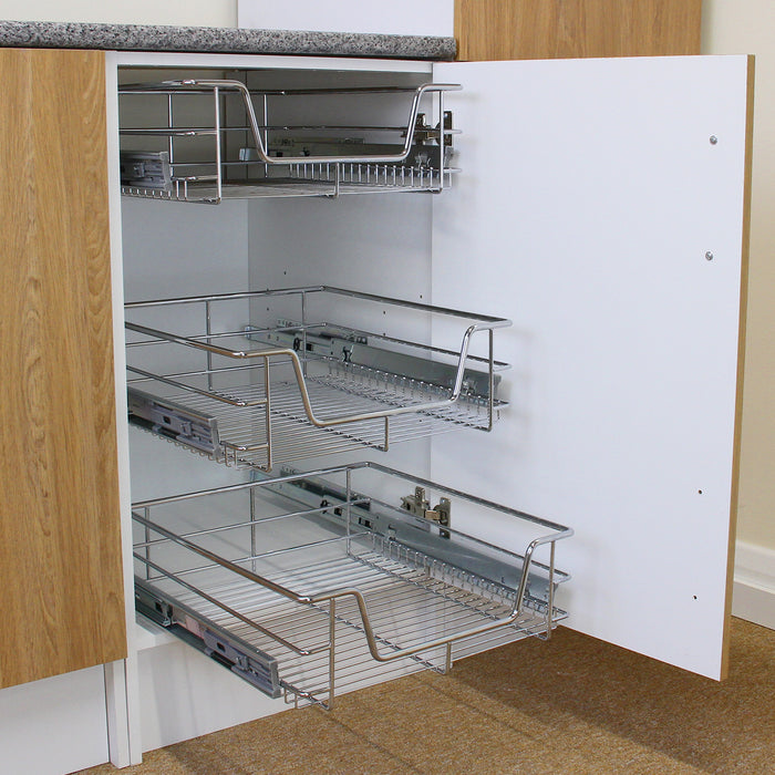 2 x KuKoo Kitchen Pull Out Storage Baskets – 500mm Wide Cabinet Techni Pros Techni-Pros - techni-pros