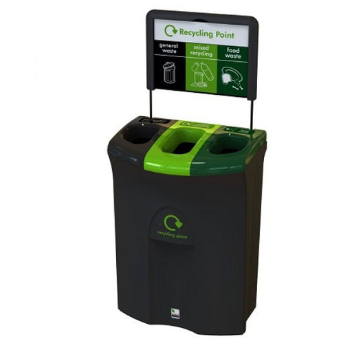 Meridian Recycling Bin with Three Open Apertures - 110 Litre Techni-Pros - techni-pros