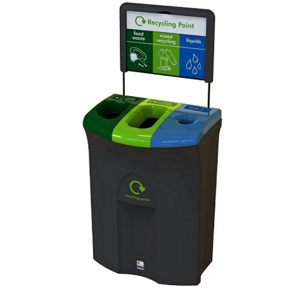Meridian Recycling Bin with Two Open & Liquid Apertures - 110 Litre Techni-Pros - techni-pros