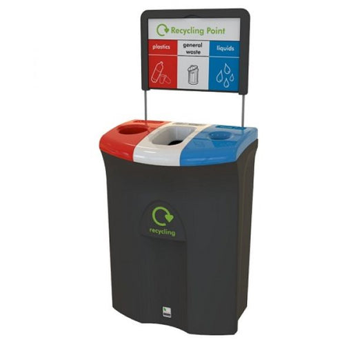 Meridian Recycling Bin with Hole, Open & Liquid Apertures - 110 Litre Techni-Pros - techni-pros