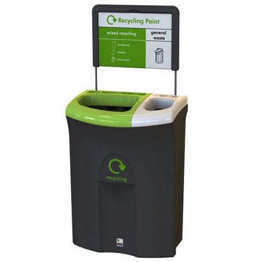Meridian Recycling Bin with Twin Open Apertures - 110 Litre Techni-Pros - techni-pros