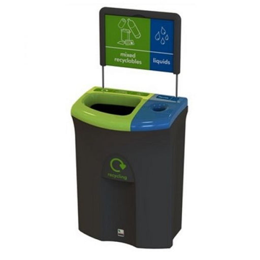 Meridian Recycling Bin with Open & Liquid Collection Apertures - 110 Litre Techni-Pros - techni-pros